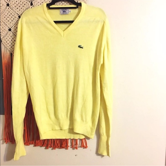 93363f67af Lacoste Other - Vintage Lacoste Izod Yellow V Neck Acrylic Sweater